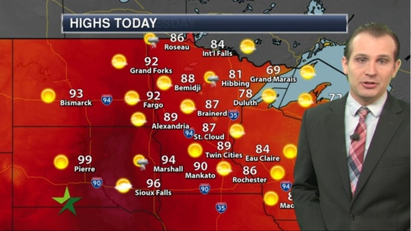 Morning forecast: Warm and sunny, high 89