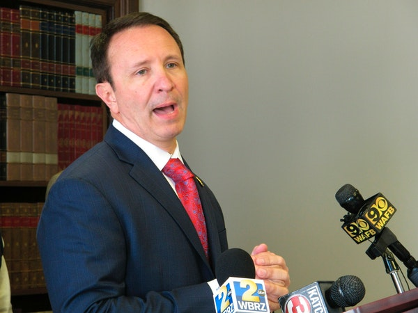 FILE - In this April 1, 2019 file photo, Louisiana Attorney General Jeff Landry talks about health care legislation he's backing in the upcoming ses