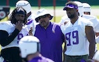 Minnesota Vikings assistant head coach Andre Patterson talked with newly signed defensive tackle Sheldon Richardson (9) and veteran defensive end Dani