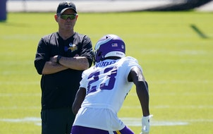 Mike Zimmer at Vikings minicamp on Tuesday.
