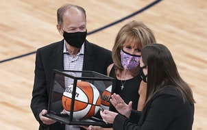 Glen Taylor, owner of the Timberwolves and Lynx, and his wife, Becky, got a game ball on Saturday at Target Center.