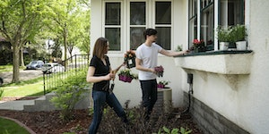 Kelsey Devine and Alex Bauman planted the window box at their new house in Minneapolis. The couple were aggressive with their offer and waived an insp
