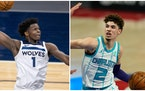 Anthony Edwards of the Timberwolves (left) and LaMelo Ball of the Hornets (right) both made compelling cases for Rookie of the Year.