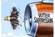 Sack cartoon: Voter suppression