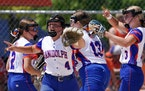 Randolph pitcher Morgyn Otte (3) celebrated an out with her teammates during the Class 1A championship game against Browerville Wednesday. ] ANTHONY S