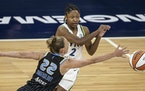 Crystal Dangerfield was guarded during a Lynx game Tuesday night at Target Center.