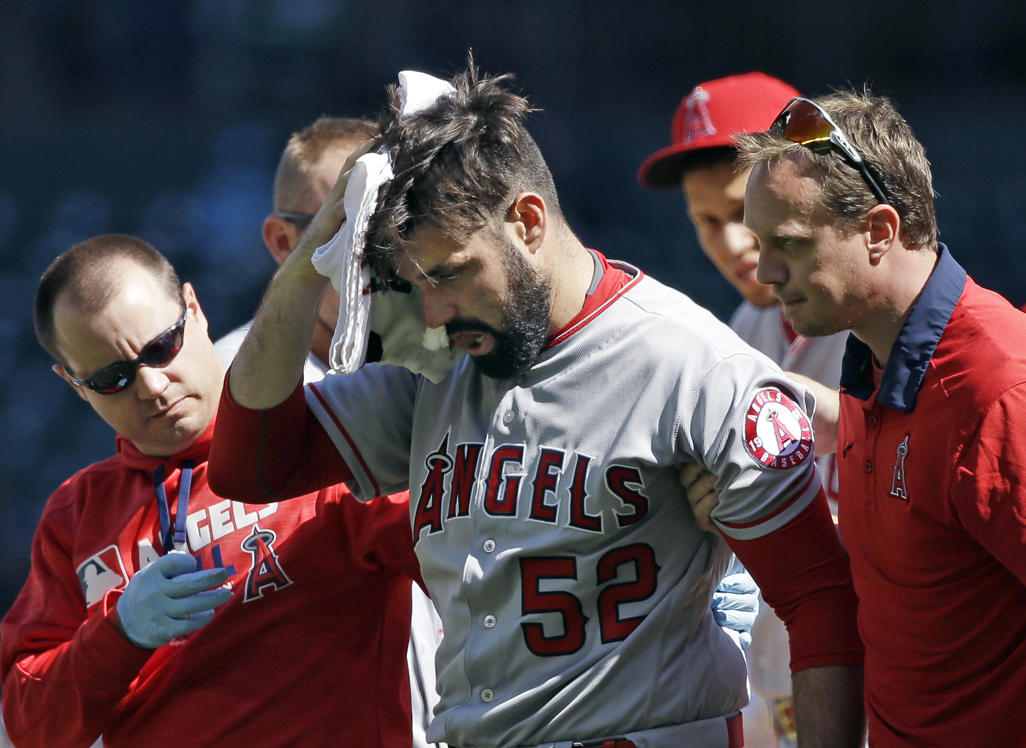 Matt Shoemaker, pitching for the Angels, left the field after being hit by a line drive on Sept. 4, 2016.