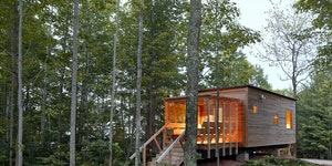 Duluth architect David Salmela designed the lodging at Wild Rice Retreat, including the RicePod (top), and the sauna house (above), which includes a r