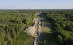 An aerial view near Park Rapids, Minn., June 6, 2021, of construction of the Line 3 pipeline project. (