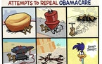 Sack cartoon: A brief history of attempts to repeal Obamacare