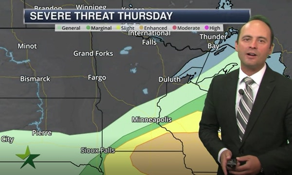 Evening forecast: Low of 67; passing shower or storm possible