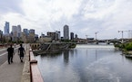 A view of the Mississippi River at St. Anthony Falls from the Stone Arch Bridge in Minneapolis.