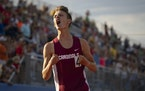 Emmet Anderson of Staples-Motley reacted as he won the boy�s Class 1A 3200 meter final.