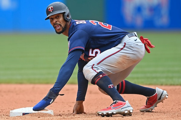 Minnesota Twins' Byron Buxton (25) reacts after stealing second base in the sixth inning of a baseball game against the Cleveland Indians, Wednesday