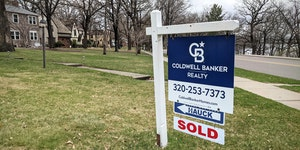 A house on Riverside Drive in St. Cloud displayed a sold sign this spring.