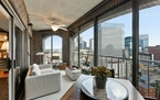 A balcony provides views of downtown Minneapolis.