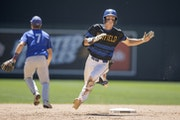 Hayfield's Easton Fritcher rounded second base to third for a triple during the top of the sixth inning in the Class 1A baseball championship at Tar