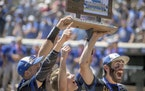 Hayfield celebrated their 7-4 win over New York Mills in the Class 1A baseball championship at Target Field, Friday, June 18, 2021 in Minneapolis.