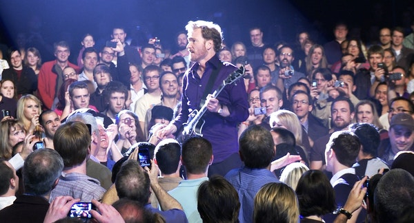 """Conan O'Brien is shown during the filming of """"Conan O'Brien Can't Stop"""" a film chronicling O'Brien's 32-city concert tour after he left"""