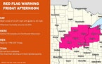 Red-flag fire warning in effect for Hennepin, Ramsey, many other counties