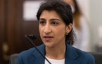 Lina Khan testifies during an April 21, 2021, Senate Committee on Commerce, Science, and Transportation confirmation hearing on Capitol Hill in Washin