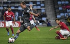 Loons defender Chase Gasper attempts a shot on goal in the second half against FC Dallas on May 15