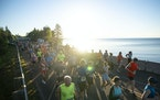 Runners took off along the start of the Garry Bjorklund Half Marathon on Saturday morning.