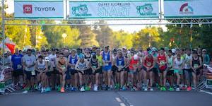 Racers prepared to start their watches at the start of the Gary Bjorklund Half Marathon on Saturday morning.