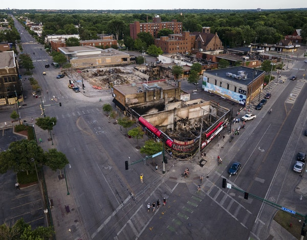 A view of destruction near the Minneapolis police Third Precinct at the Lake Street and Minnehaha Avenue intersection.