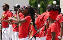 """The musical group """"Sounds of Blackness"""" performed during a gathering to celebrate Juneteenth on Saturday at the State Capitol."""