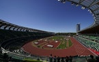 Athletes competes during the decathlon high jump at the U.S. Olympic Track and Field Trials Saturday in Eugene, Ore
