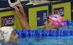 Regan Smith reacts after the women's 200 backstroke during the U.S. Olympic Swim Trials
