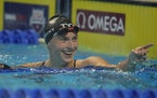 Katie Ledecky reacted after winning the women's 800-meter freestyle during wave 2 of the U.S. Olympic swim trials Saturday.