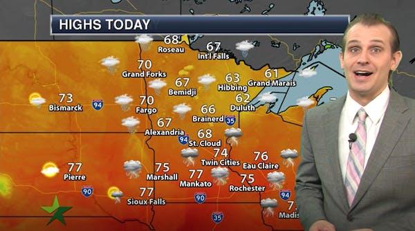 Morning forecast: High 74, thunderstorms
