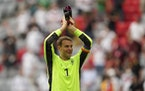 Germany's goalkeeper Manuel Neuer celebrates with fans after the Euro 2020 soccer championship group F match between Portugal and Germany in Munich,