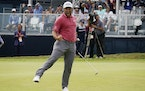 Jon Rahm reacted to making his birdie putt on the 18th green during the final round of the U.S. Open on Sunday. Rahm birdied No. 18 all four days.