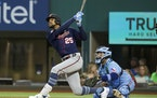 Twins center fielder Byron Buxton smacked a two-run homer in the first inning Sunday, getting his team off on the right foot at Texas.