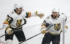 Vegas' Nicolas Roy, right, celebrated his overtime goal against the Canadiens with former Montreal captain Max Pacioretty.