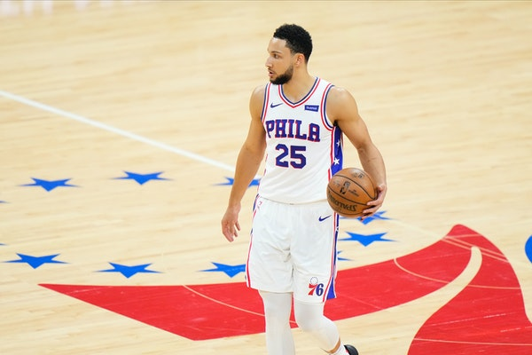 Philadelphia 76ers' Ben Simmons plays during Game 7 in a second-round NBA basketball playoff series against the Atlanta Hawks, Sunday, June 20, 2021