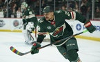 """J.T. Brown warmed up during """"Hockey Is For Everyone Night"""" while with the Wild on March 11, 2019."""