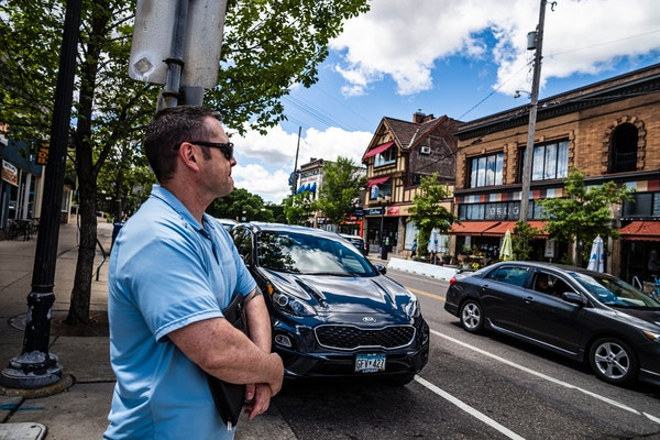 Minneapolis police Sgt. Paul Albers checked the area Monday near where Friday's shootings occurred in the Dinkytown neighborhood. He was looking to