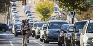 A cyclist in a bike lane on Marshall Avenue in St. Paul during rush hour in 2017. (Star Tribune file photo by Leila Navidi)