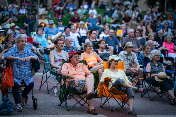 A large group watched the St. Paul Chamber Orchestra perform at downtown St. Paul's Mears Park in early June.
