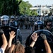 Police cleared a path for then-President Donald Trump through protesters near the White House in Washington on June 1, 2020.