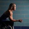 Paralympic swimmer Mallory Weggemann posed for a portrait at the University of Minnesota's Jean K Freeman Aquatic Center.