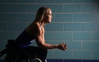 Paralympic swimmer Mallory Weggemann posed for a portrait at the University of Minnesota's Jean K Freeman Aquatic Center. ] ANTHONY SOUFFLE • anth