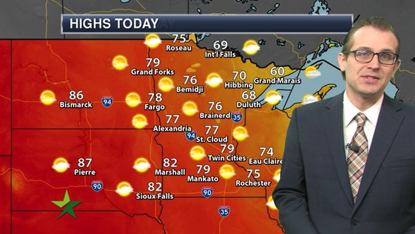 Afternoon forecast: Pleasant with a high in the 70s