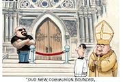Sack cartoon: Meet the communion bouncer