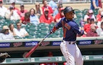 Minnesota Twins shortstop Jorge Polanco (11) lined out in the bottom of the first inning.