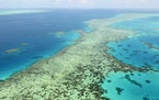 An aerial photo of the Great Barrier Reef in Australia in 2017. Australia is fighting the U.N. recommendation that the reef be placed on a list of Wor